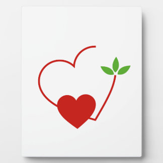 Hearts with leaves gathered in one place plaque