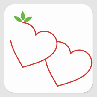 Hearts with leaves gathered in one place square sticker