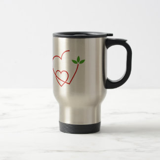 Hearts with leaves gathered in one place travel mug