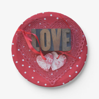 Hearts with love and polka dots paper plate
