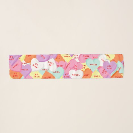 Hearts with Sayings Valentine's Day Chiffon Scarf