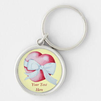 hearts with white bow romantic art design keychain