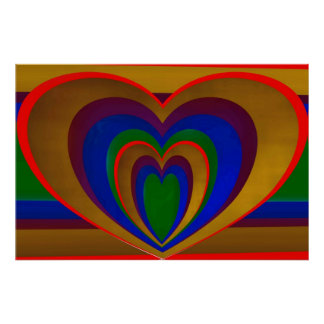 Hearts Within Heart On Stripes Poster