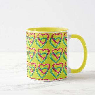Hearts yellow 11 oz Ringer Mug