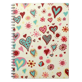 heartsJournal del doodle Libretas Espirales