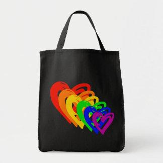 heartsrainbow bolsa tela para la compra