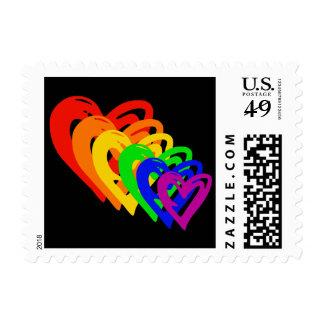 heartsrainbow sello postal