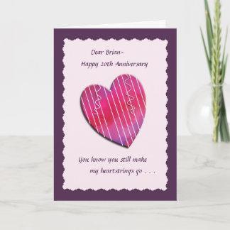 Heartstrings 20th Wedding Anniversary Card