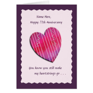 Wedding Anniversary Gifts 22 Year : Heartstrings Any Year Wedding Anniversary Card