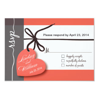 Heartstrings RSVP 1 Response peach Card