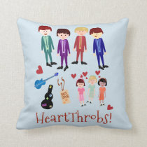 Heartthrobs Vintage Band Illustration Throw Pillow