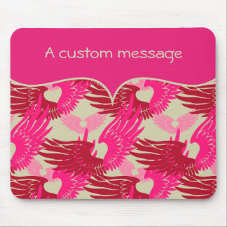 Heartwings Camouflage: Pink & Beige Mouse Pad