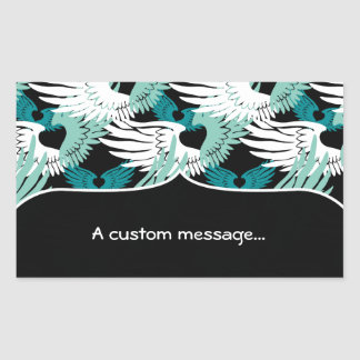 Heartwings Camouflage: Turquoise, White & Black Rectangular Sticker
