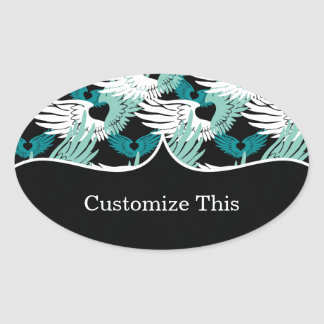Heartwings Camouflage: Turquoise, White & Black Oval Sticker