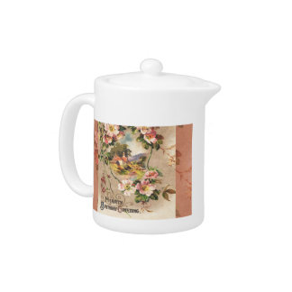 Hearty Birthday Card Victorian Floral Greeting Teapot