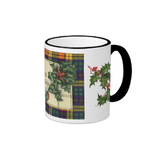 Hearty Christmas Greetings, Buchanan tartan Ringer Mug