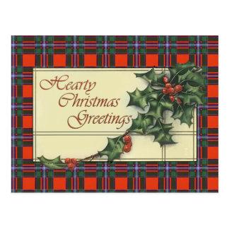 Hearty Christmas Greetings, Drummond  Tartan Post Cards