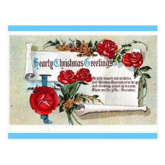 Hearty Christmas Greetings Postcard