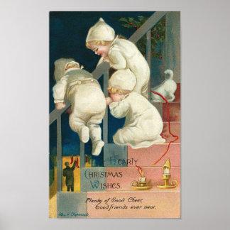 Hearty Christmas Wishes Kid's Peeking Card Print