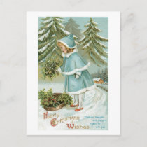 Hearty Christmas Wishes Vintage Holiday Postcard
