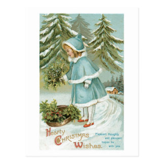 Hearty Christmas Wishes Vintage Retro Postcard