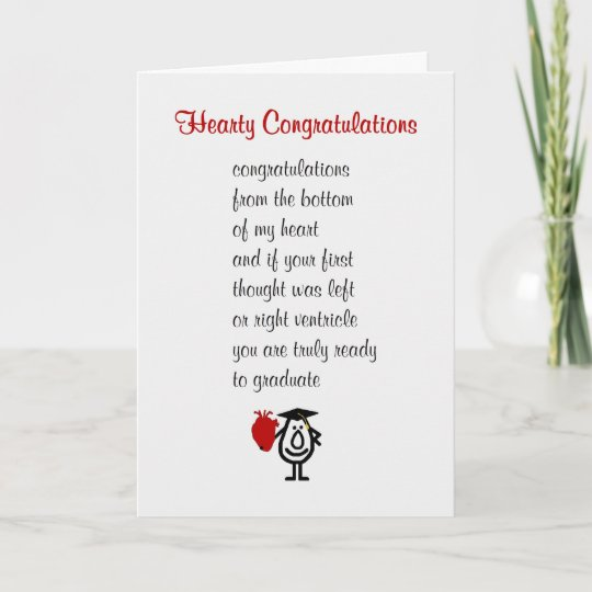 Hearty Congratulations - a funny Med Sch grad poem Card