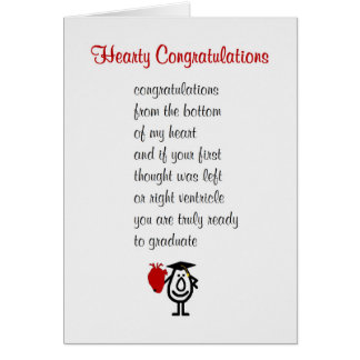 Hearty Congratulations - a funny Med Sch grad poem Greeting Card