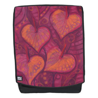 Hearty Flowers, floral hearts, pink, red & orange Backpack