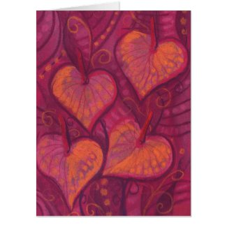 Hearty Flowers, floral hearts, pink, red & orange