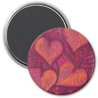Hearty Flowers, floral hearts, pink, red & orange Magnet