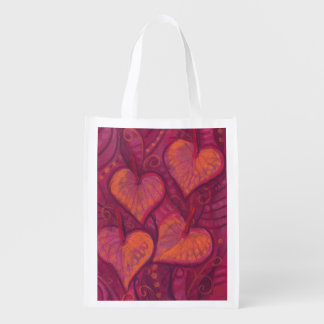 Hearty Flowers, floral hearts, pink, red & orange Reusable Grocery Bag