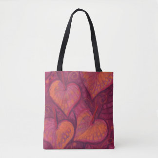 Hearty Flowers, floral hearts, pink, red & orange Tote Bag