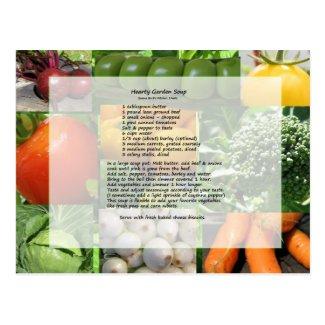 Hearty Garden Soup Recipe Postcard