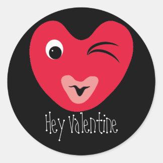 hearty, Hey Valentine Classic Round Sticker