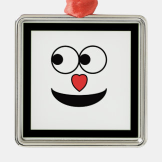 Hearty Nose Happy Face Metal Ornament