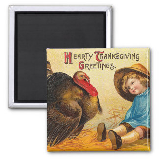 Hearty Thanksgiving Greetings Fridge Magnets