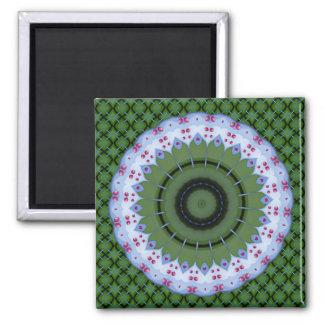 Hearty Wheel Kaleidoscope Mandala 2 Inch Square Magnet