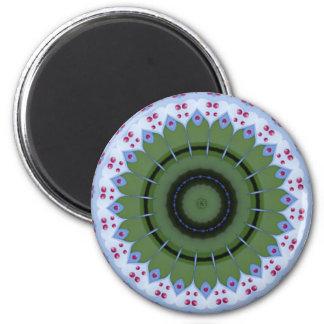Hearty Wheel Kaleidoscope Mandala 2 Inch Round Magnet
