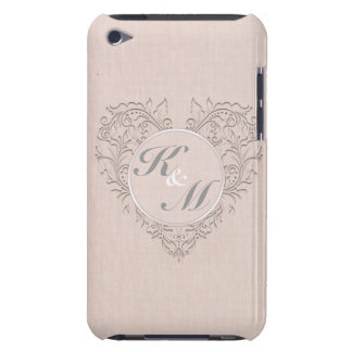 HeartyChic Coral linen Damask Heart Case-Mate iPod Touch Case