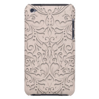 HeartyChic Coral linen Damask Heart iPod Case-Mate Case