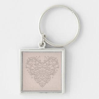 HeartyChic - corazón coralino del damasco Llavero Cuadrado Plateado