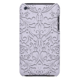HeartyChic Lavender linen Damask heart Barely There iPod Cover