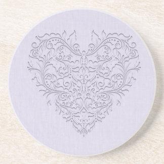 HeartyChic Lavender linen Damask heart Drink Coaster