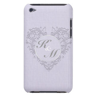 HeartyChic Lavender linen Damask heart iPod Touch Cover