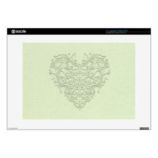 "HeartyChic Lime Green linen Damask Heart 15"" Laptop Decals"