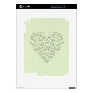 HeartyChic lime Green Linen damask heart Decal For iPad 2