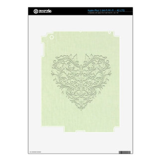 HeartyChic lime Green Linen damask heart iPad 3 Decals