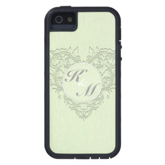 HeartyChic lime Green Linen damask heart iPhone SE/5/5s Case