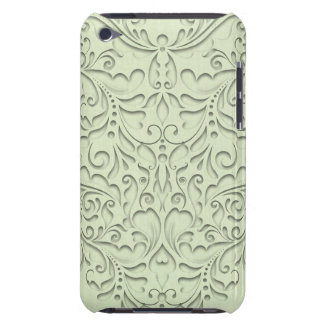 HeartyChic lime Green Linen damask heart iPod Case-Mate Case