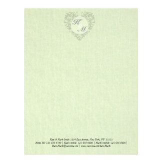 HeartyChic lime Green Linen damask heart Letterhead